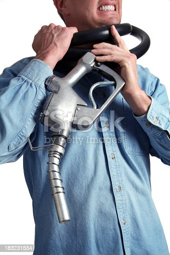 Image of man struggling with gas nozzle hose wrapped around his neck as if he is being choked…choked by the high prices.