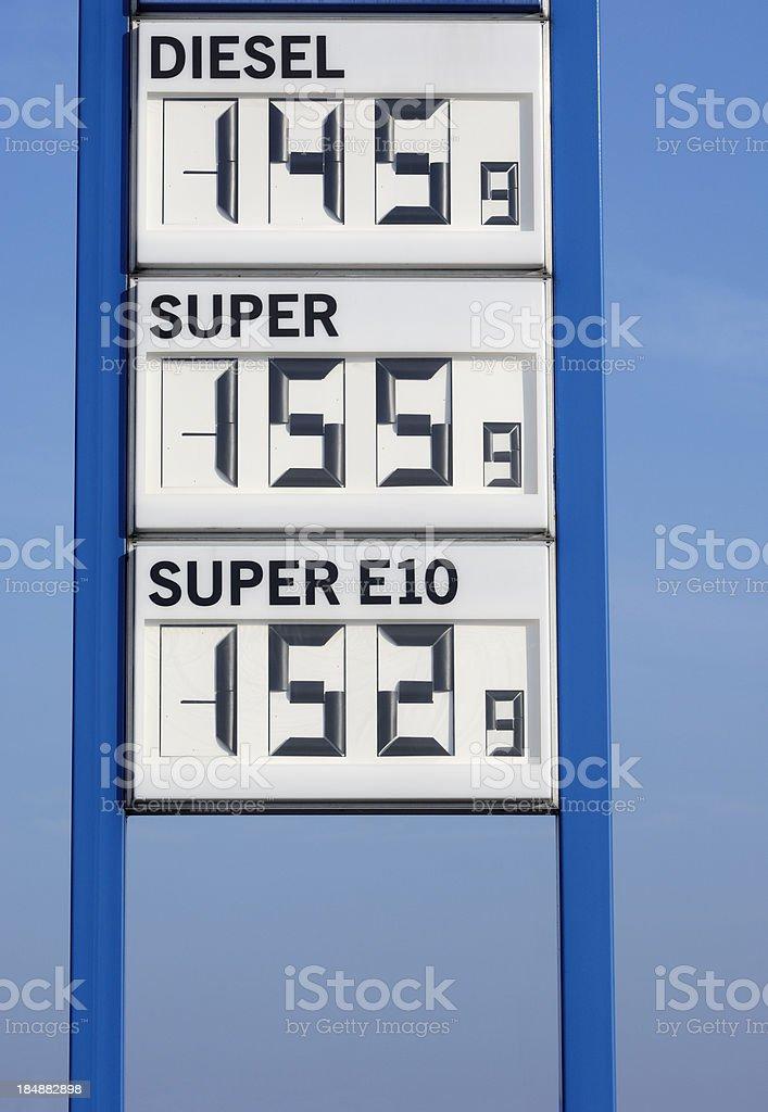 Gas prices in Euro royalty-free stock photo