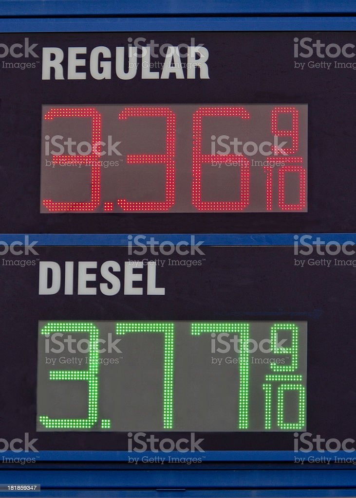 Gas Prices Regular and Diesel LED Electonic Sign stock photo