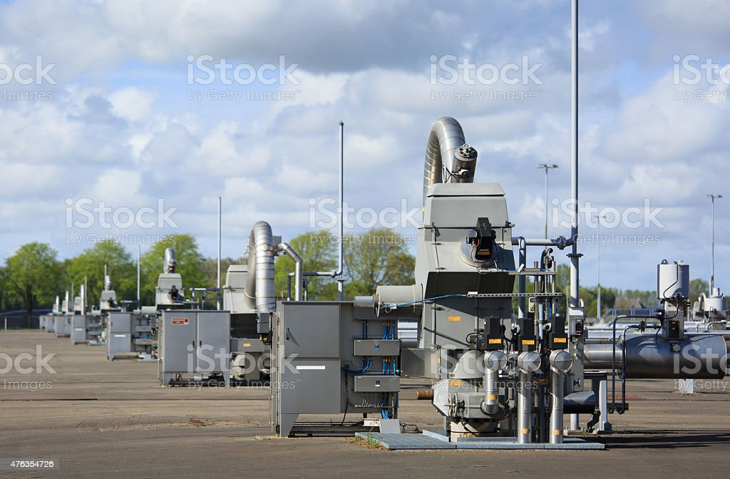 Gas production station stock photo