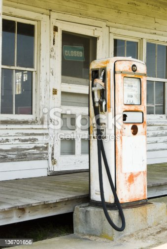 istock Gas Pump at an Old Country Store, Closed for Business 136701656