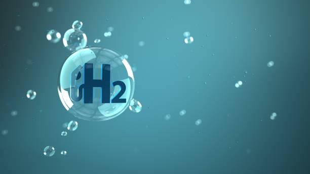 bolla pompa gas h2 - idrogeno foto e immagini stock
