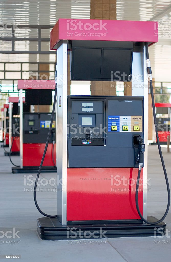 Gas pump unit at the gas station stock photo