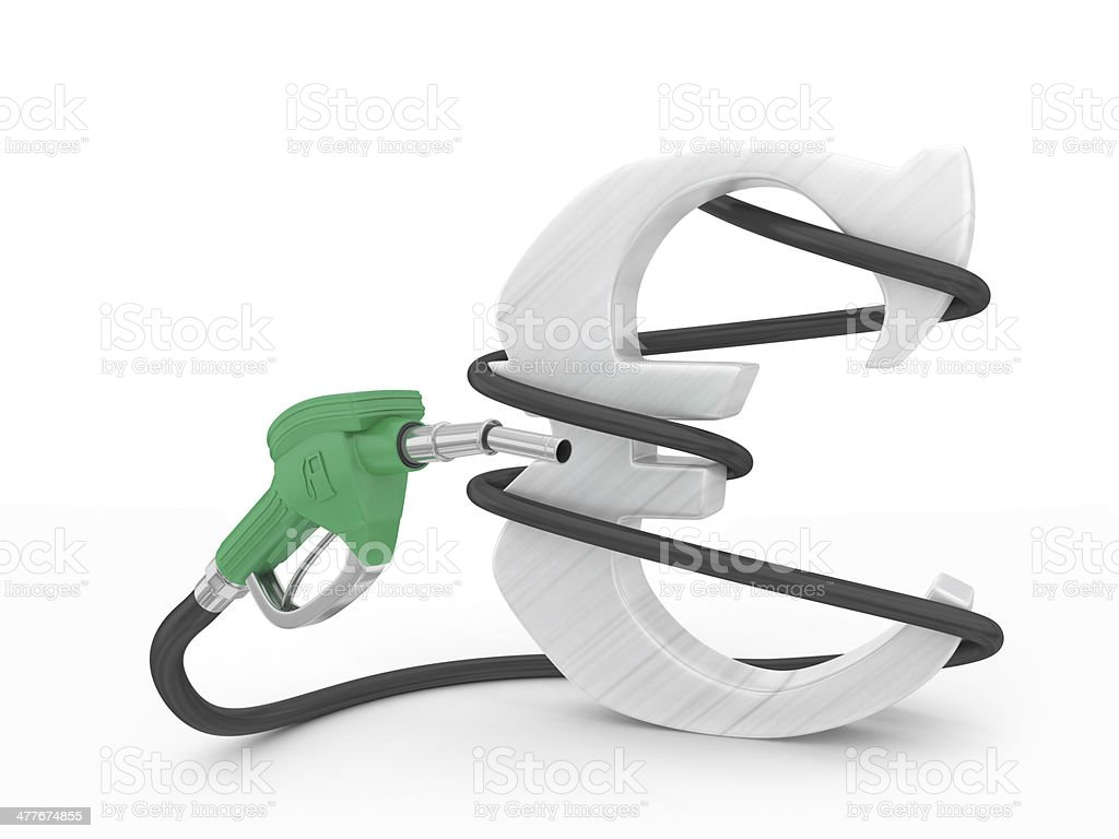 Gas pump with euro sign royalty-free stock photo