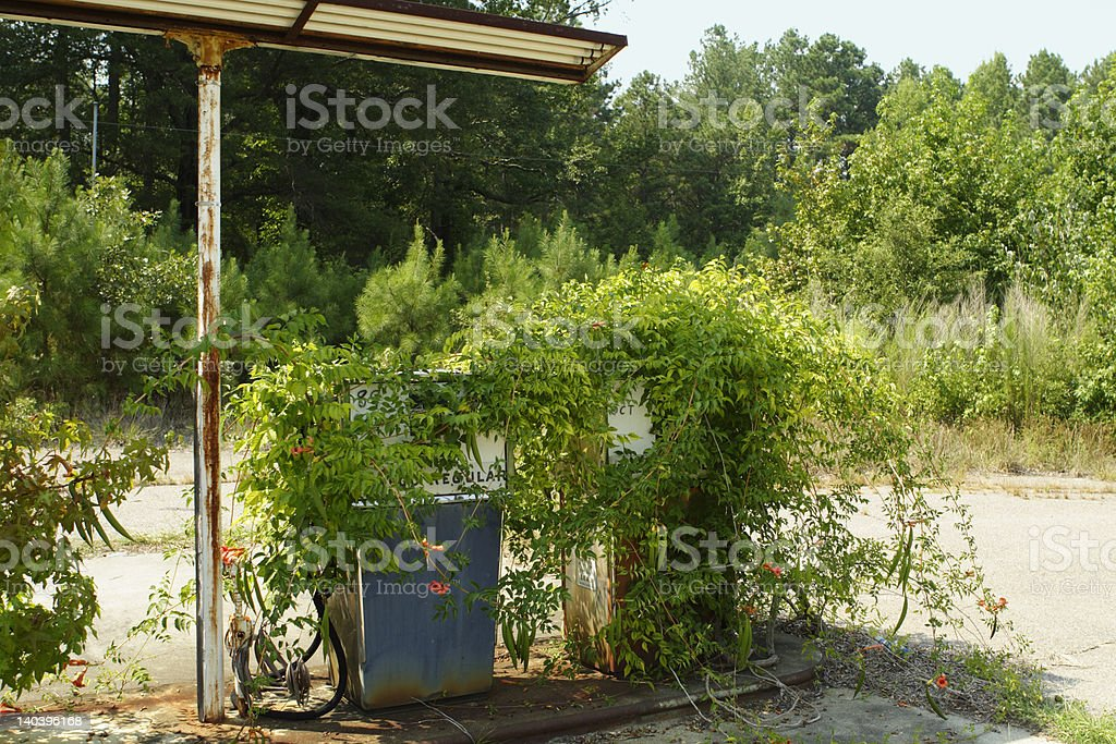 Gas Pumps Overgrown with Weeds at Station royalty-free stock photo