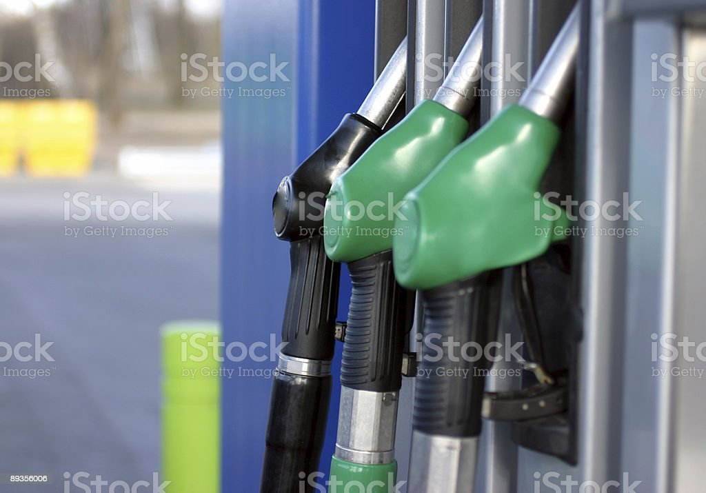 Gas pumps stock photo