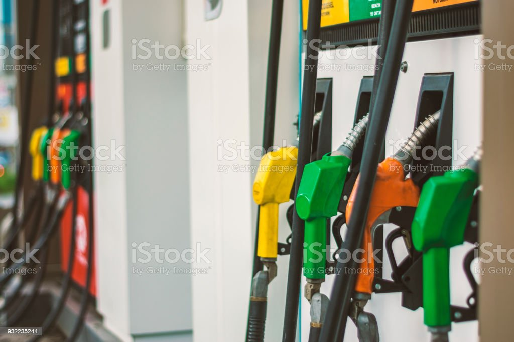 Gas pumps stock photo