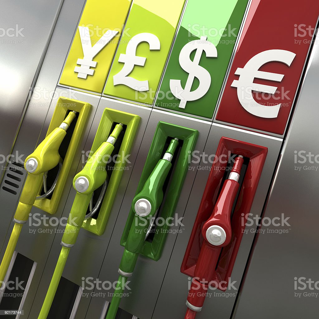 Gas pumps with currency symbols royalty-free stock photo
