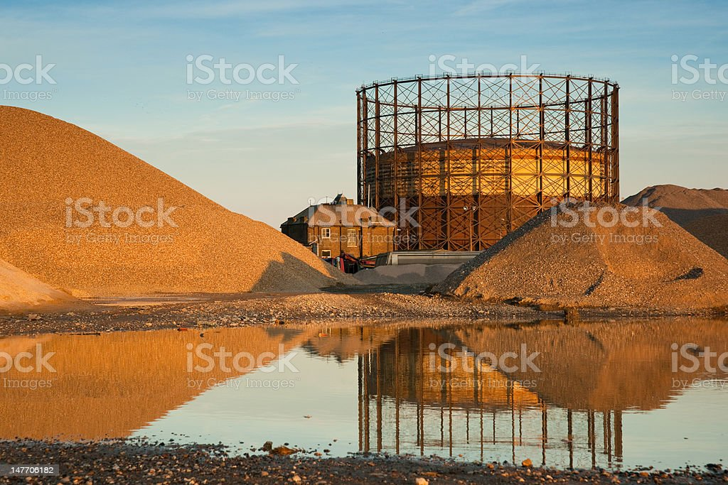 Gas reservoir with reflection royalty-free stock photo