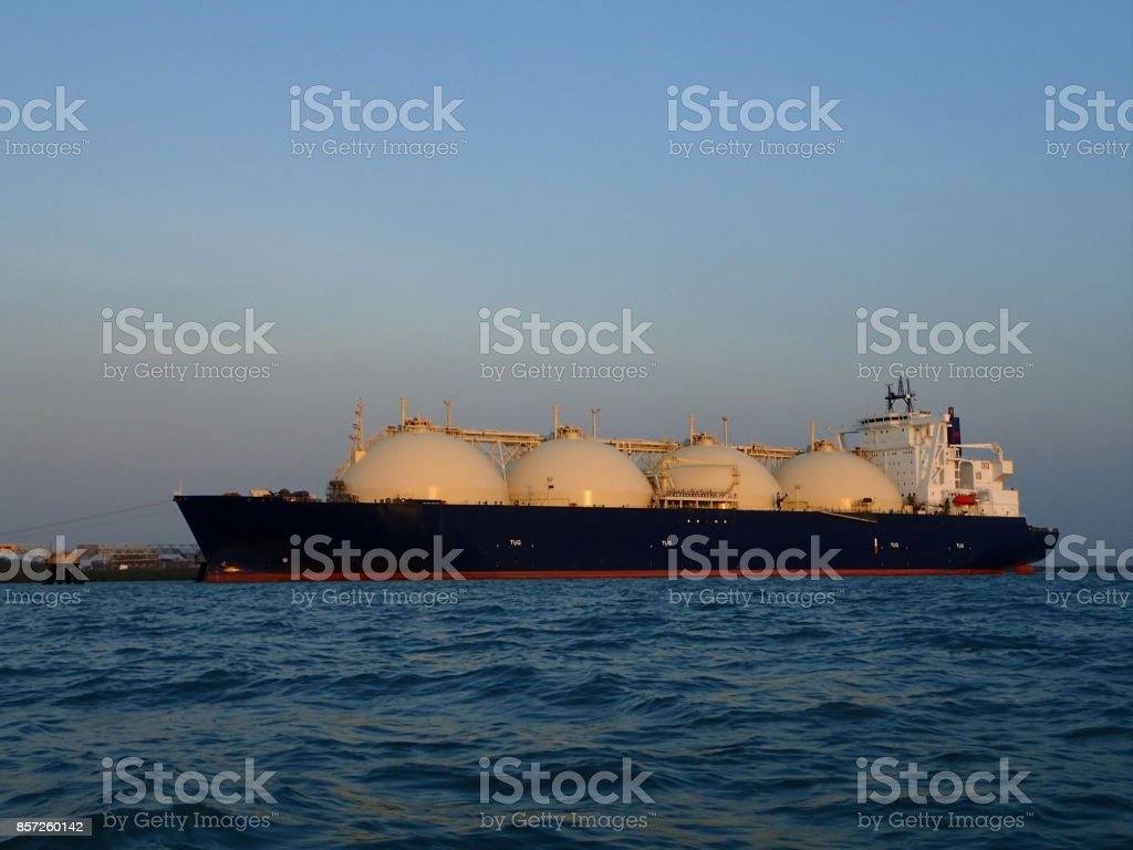 Gas ship docked stock photo