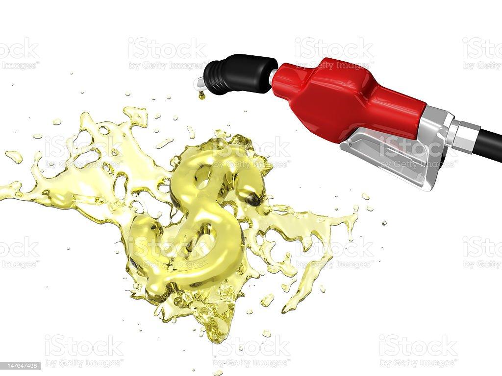 Gas splashing dollar sign royalty-free stock photo
