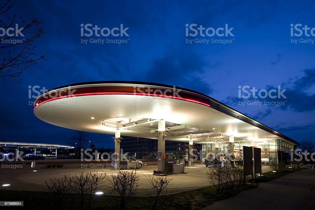 gas station after sunset royalty-free stock photo