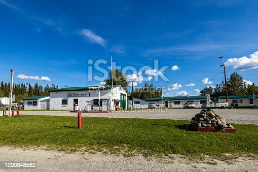 Watson Lake, Yukon, Canada - June 26, 2019: An famous Gas Station along the Alaska Highway in Canada