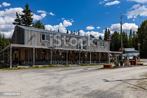 Watson Lake, Yukon, Canada - June 25, 2019: An famous Gas Station along the Alaska Highway in Canada