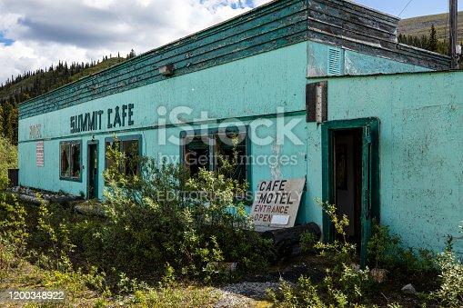 Watson Lake, Yukon, Canada - June 25, 2019: An famous Gas Station along the Alaska Highway in Canada
