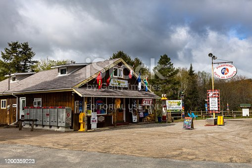 Lake Watson, Yukon, Canada - May 26, 2019: Gas Station along the Alaska Highway