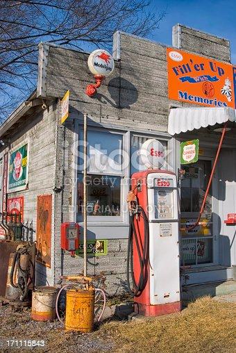Berkley Springs, West Virginia, USA - February 24, 2007: Gas Station and Country Store, Esso Pump, Nostalgic Americana Me