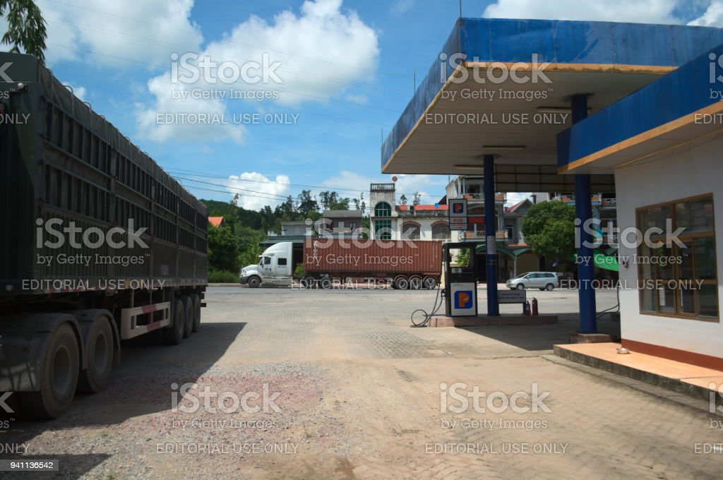 Gas station and freight heavy truck stock photo
