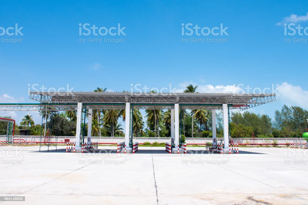 gas station and fuel pumps foto stock royalty-free
