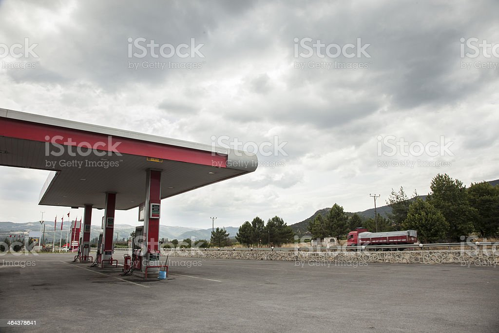 Gas station at cloudy weather royalty-free stock photo