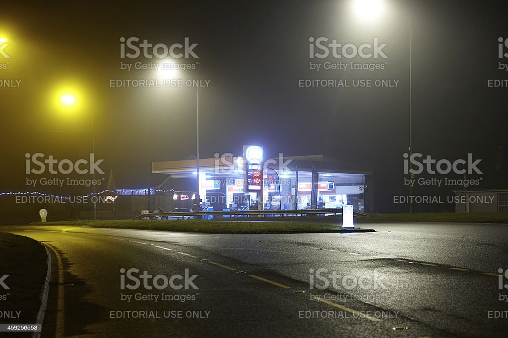 Gas station at night royalty-free stock photo