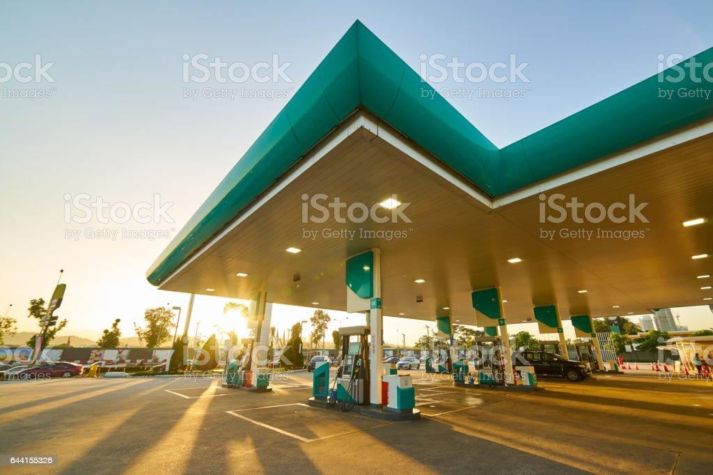 Gas station at sunrise morning . stock photo