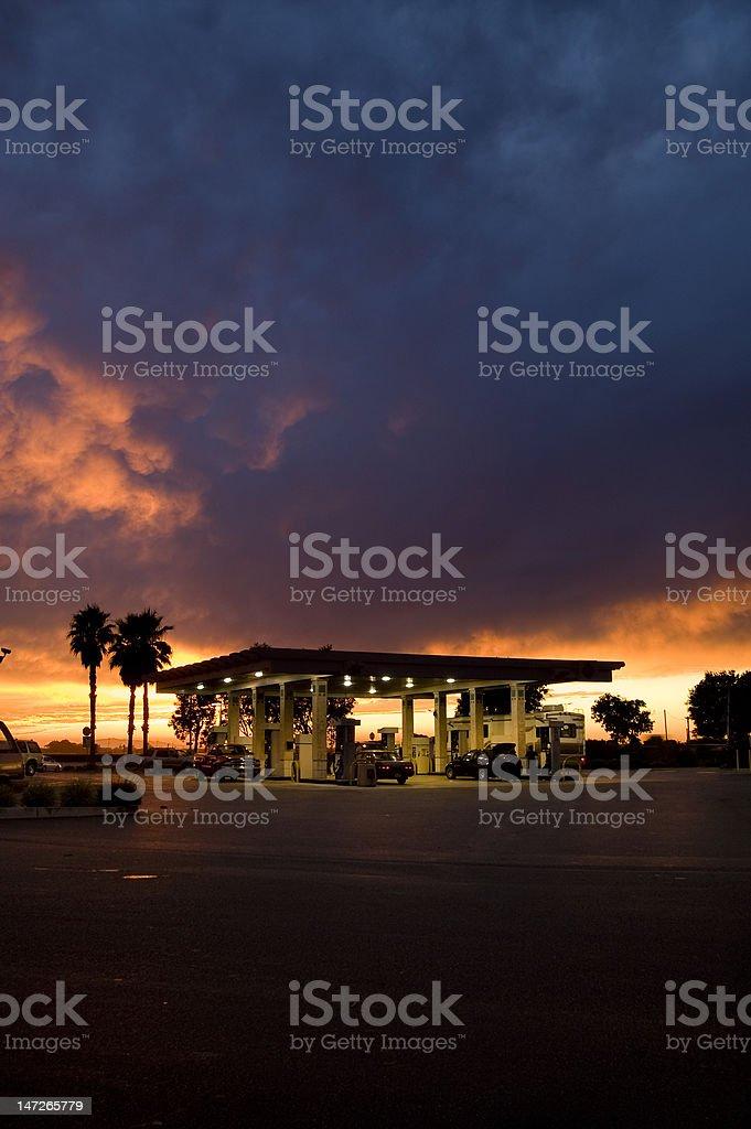Gas Station at Twilight stock photo