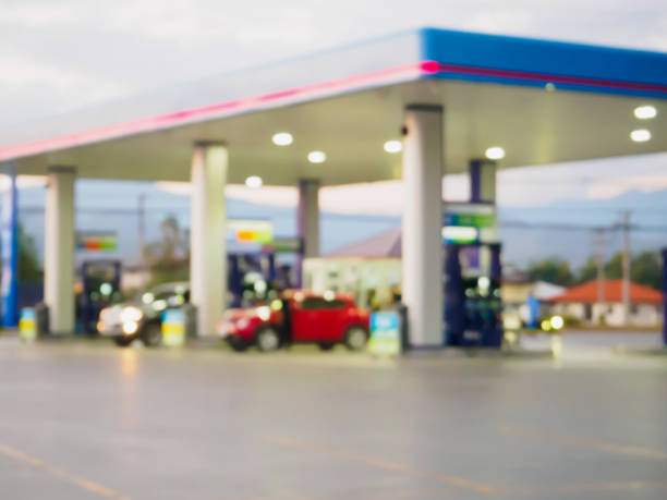 gas station blur background stock photo
