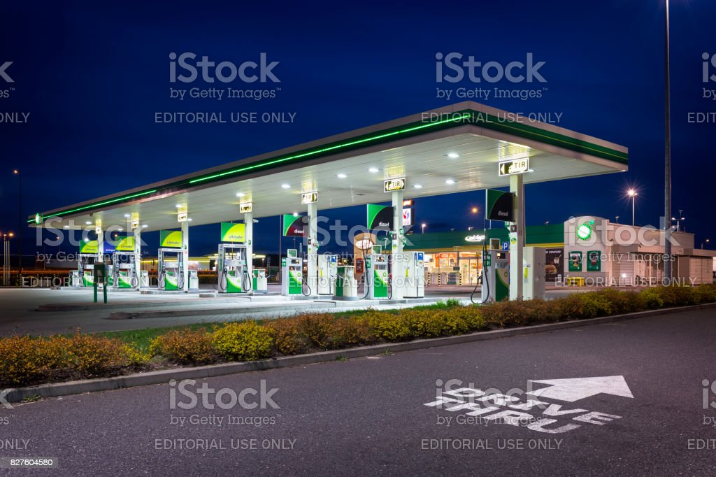 BP gas station by night stock photo