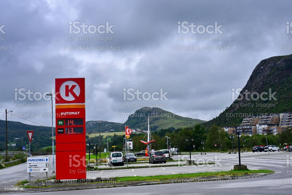 gas station Circle K Stavanger, Rogaland / Norway - 08.11.2019:  Cars are refueling at the gas station with brand Circle K , Norway Advertisement Stock Photo