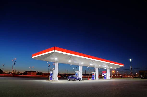 Gas Station Exterior Night Lights stock photo