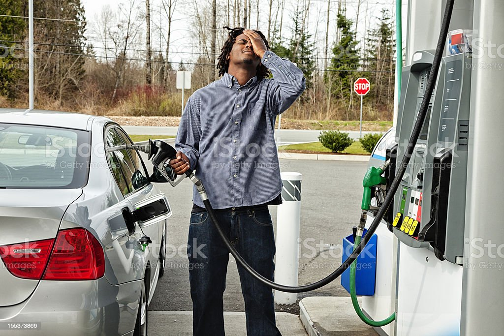 Gas Station Frustration royalty-free stock photo