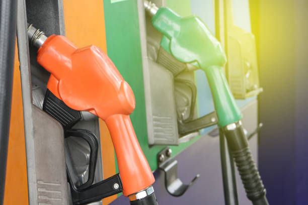 Gas station. Fuel pump.Colorful petrol pump filling nozzles. stock photo