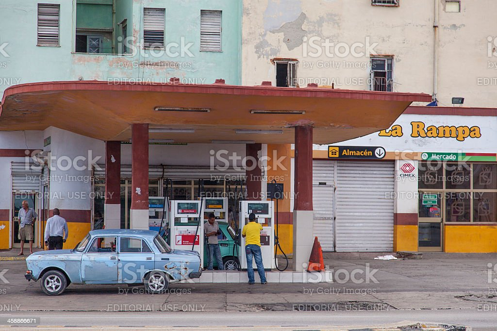 Gas station in Habana Cuba royalty-free stock photo