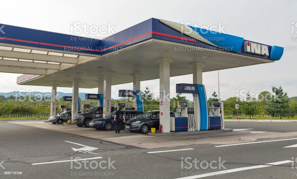 INA gas station in Novi Marof, Croatia. stock photo