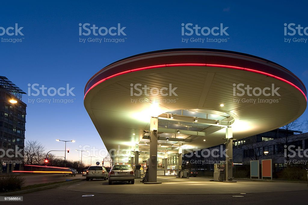 gas station in sunset royalty-free stock photo