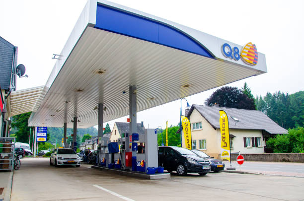 Q8 Gas Station. Kuwait Petroleum International, known by our trademark Q8, was established in 1983. Vianden, Luxembourg - July 27, 2019: Q8 Gas Station. Kuwait Petroleum International, known by our trademark Q8, was established in 1983. known gas stock pictures, royalty-free photos & images