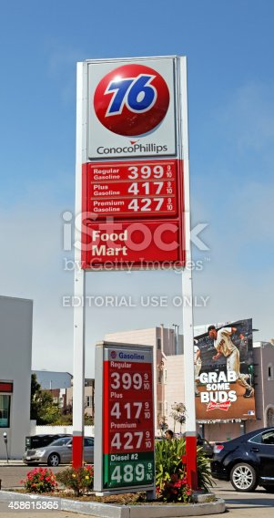 San Francisco, USA - September 9, 2011: 76/Conoco Phillips logo on tower on Union Street in San Francisco's Marina District. Union Oil's