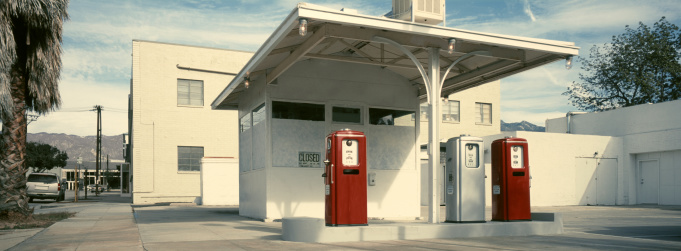 A 1960s Southern California gas station being restored. The photo is shot with a panoramic camera (Hasselbad XPAN) and 45mm lens.