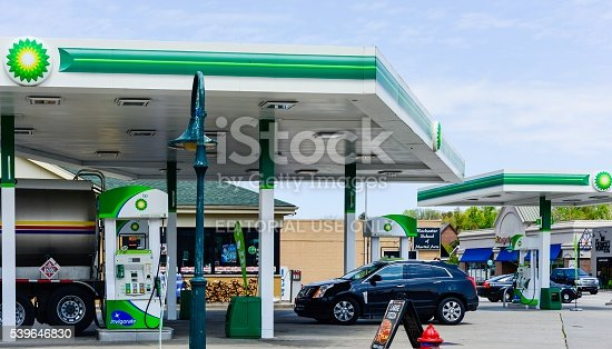 Rochester, Michigan, USA - May 17, 2016: The BP Gas Station at the corner of Rochester Road and West University Drive in Rochester, Michigan. Founded in 1909, BP, formerly called British Petroleum, is the third largest energy company, and fourth largest company overall in the world, with operations spanning the globe.