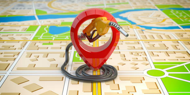 Gas station point location. Gasoline pistol pump fuel nozzle on city map. stock photo
