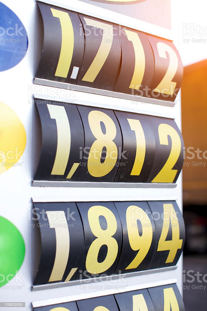 Gas Station Price Display Board Stock Photo - Download Image Now