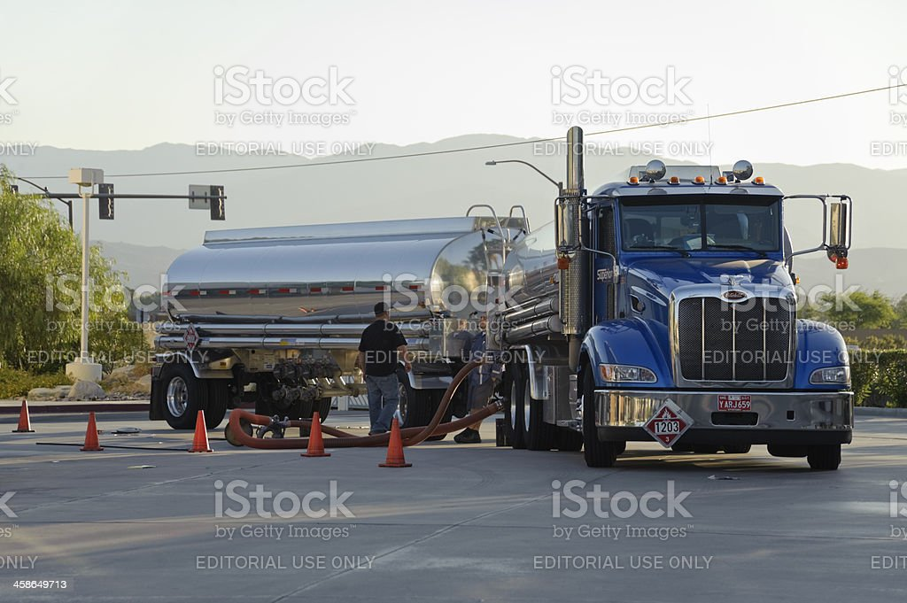 Gas station refueling royalty-free stock photo