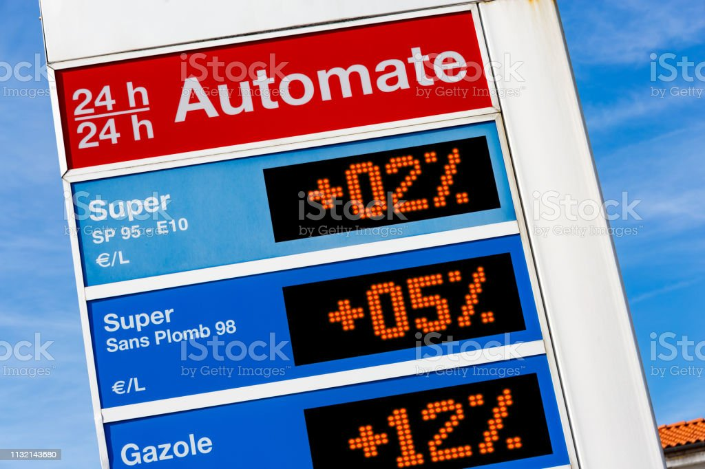 Closeup on Gas station sign displaying different oils energies super,...