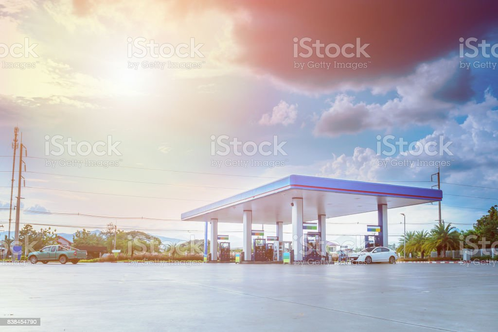 Gas station with clouds and blue sky royalty-free stock photo