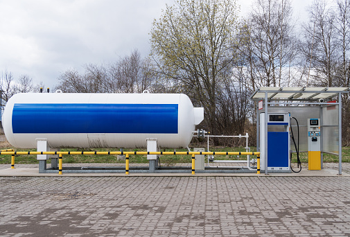 Lpg Gas Station With White Tank Stock Photo - Download ...