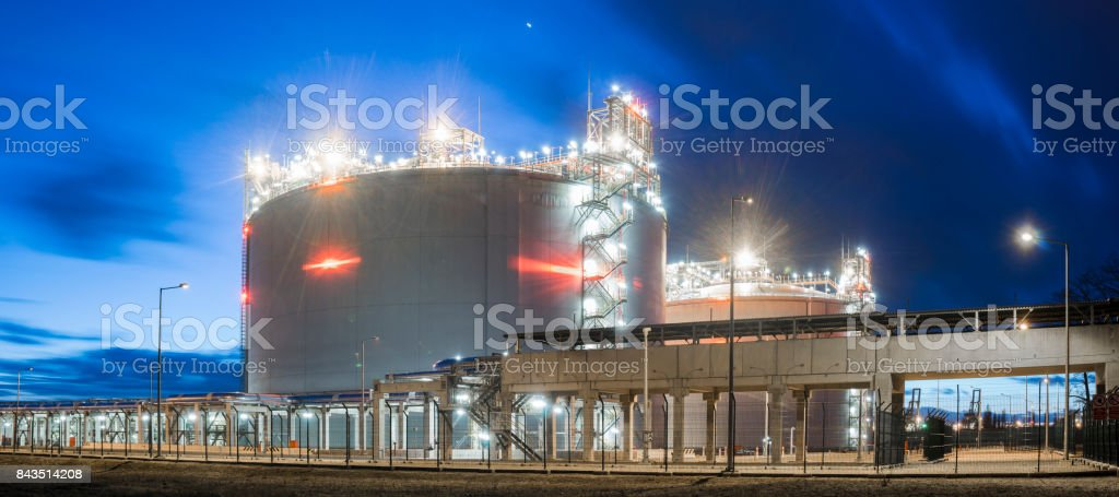 LNG gas storage tanks at the gas terminal in Swinoujscie, Poland stock photo