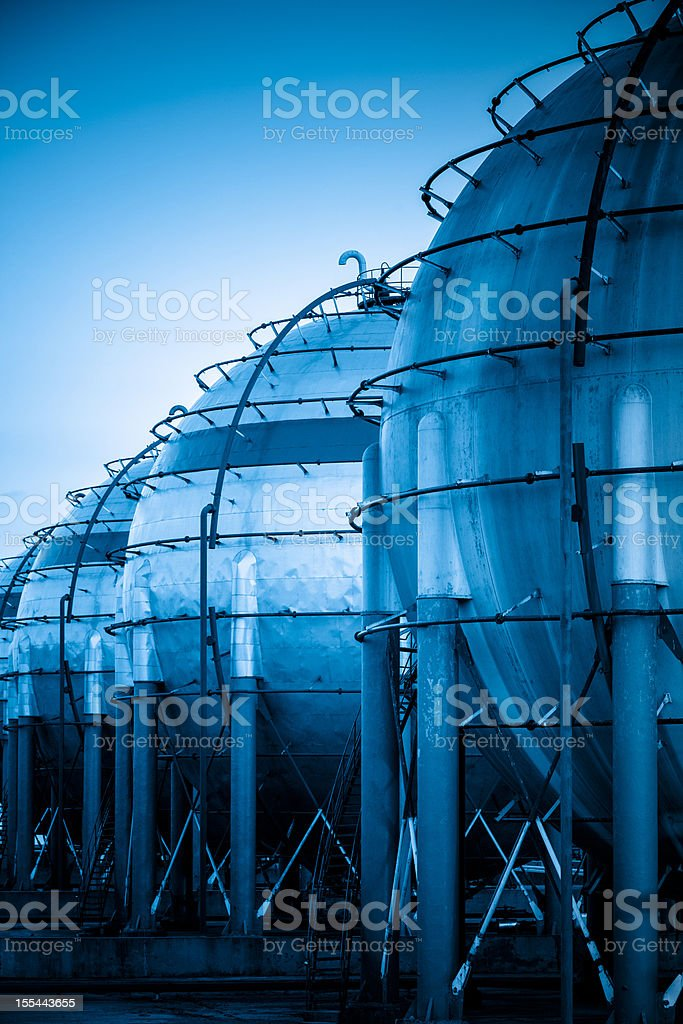 Gas storage tanks royalty-free stock photo