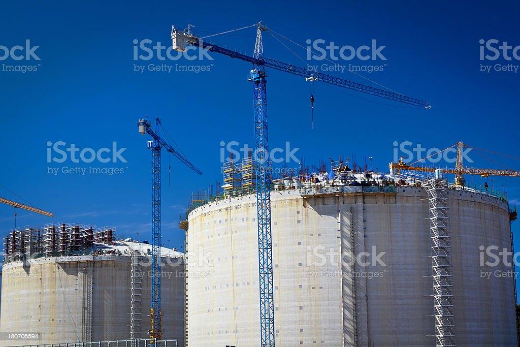 Gas storage tanks under construction royalty-free stock photo
