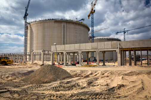 Gas storage tanks under constructionSee more CONSTRUCTION SITE images here: